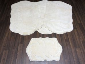 GYPSY TRAVELLERS MATS SET 4PCS NON SLIP LARGE SIZES 75x125CM THICK IVORY/CREAM (1) (2)